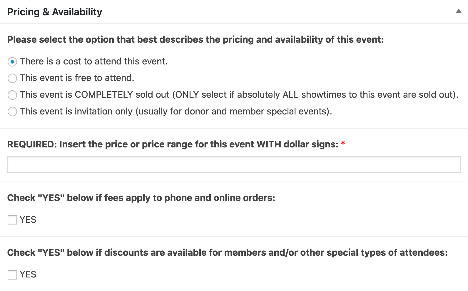 A WordPress editor box with 4 radio buttons, 1 text field & 2 checkboxes. Described in detail in the next paragraph.