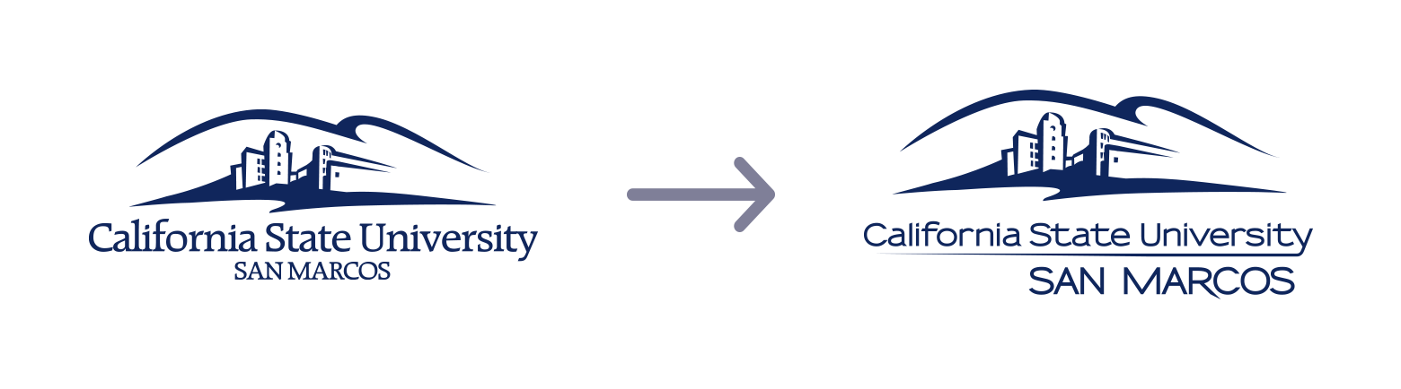 At left, the old CSUSM hills logo with serif font. At right, the modernized hills logo with sans serif font.