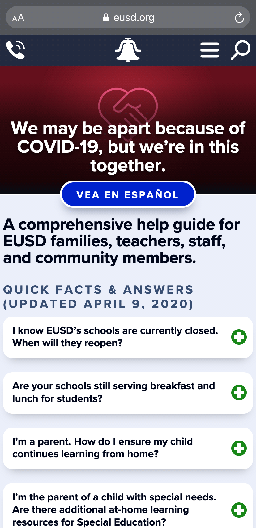 The COVID-19 subpage on an iPhone.