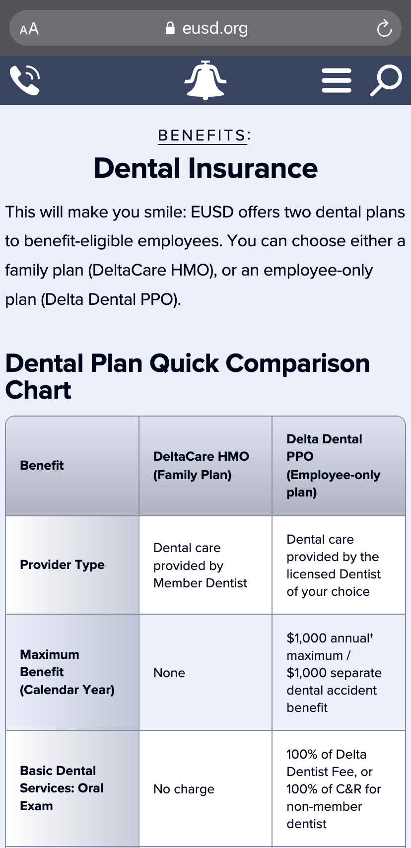 The Dental Insurance subpage on an iPhone.