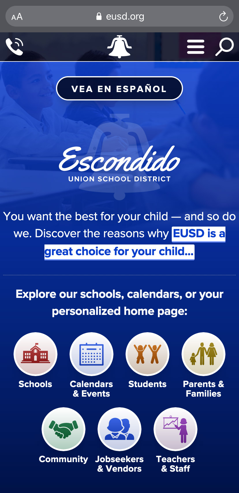The main EUSD home page on an iPhone.