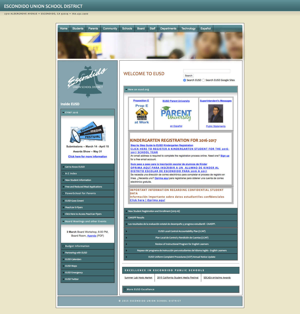 The old home page featuring a beige & green color scheme with numerous cluttered links & content regions.