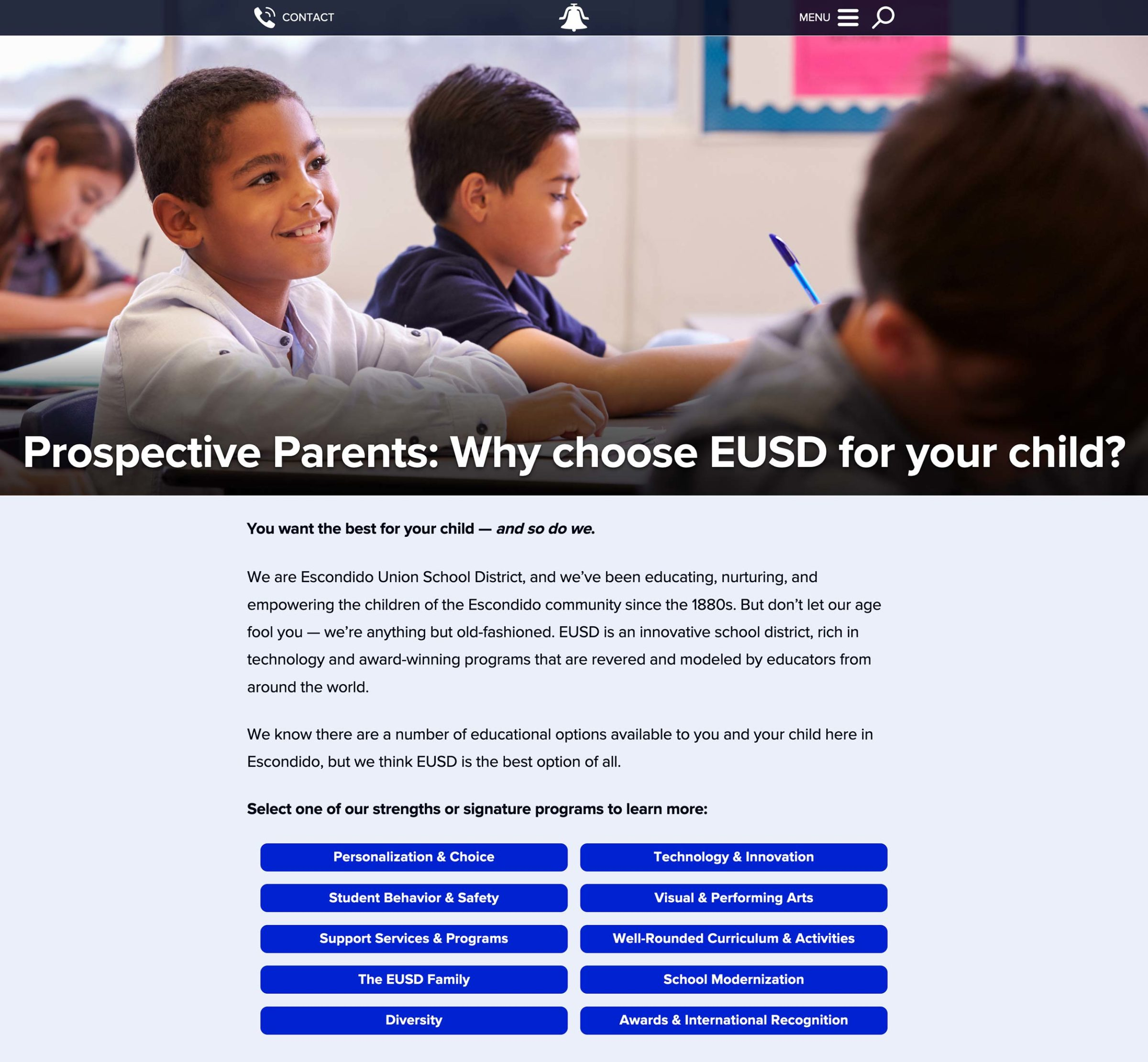 The Why EUSD main page, described further in the next paragraph.