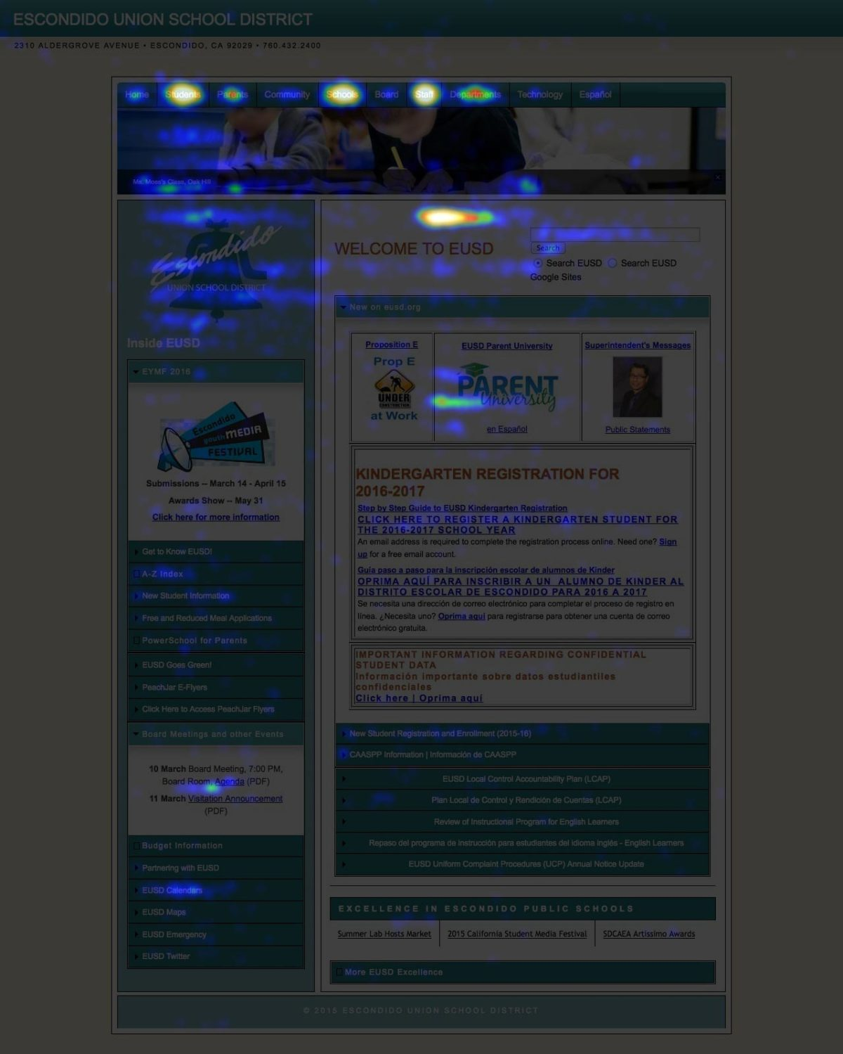 A heat map of the old home page with very few hot spots indicating that people weren't clicking most of its links.